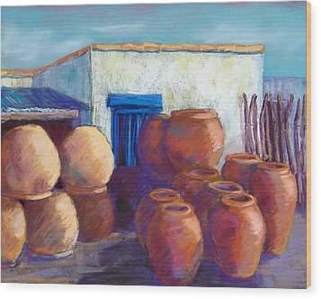 Terracotta Pots Wood Print by Candy Mayer