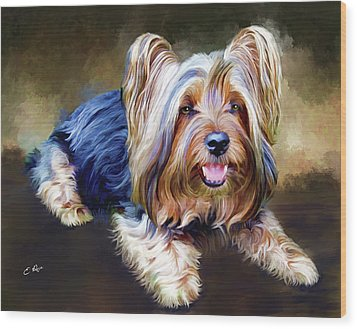 Terrier Wood Print by Ellens Art