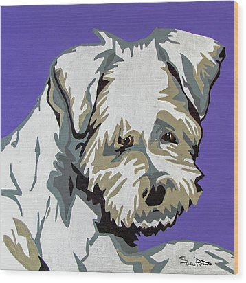 Terrier Mix Wood Print by Slade Roberts