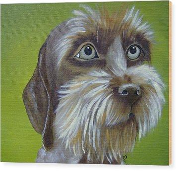 Terrier Waiting Patiently Wood Print