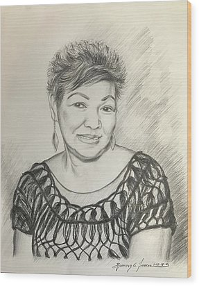 Wood Print featuring the drawing Tessie Guinto  by Rosencruz  Sumera