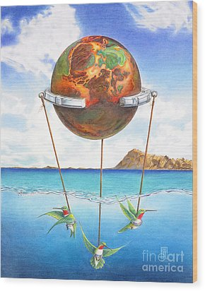 Tethered Sphere Wood Print by Melissa A Benson