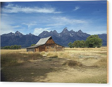 Teton Barn 3 Wood Print by Marty Koch