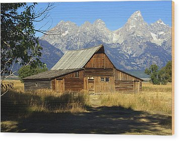Teton Barn 4 Wood Print by Marty Koch