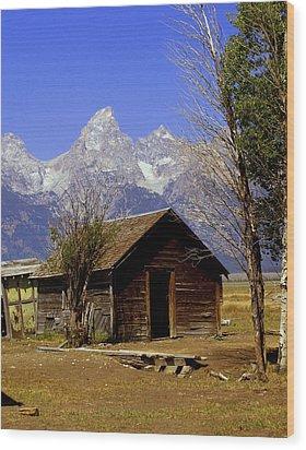 Teton Cabin Wood Print by Marty Koch