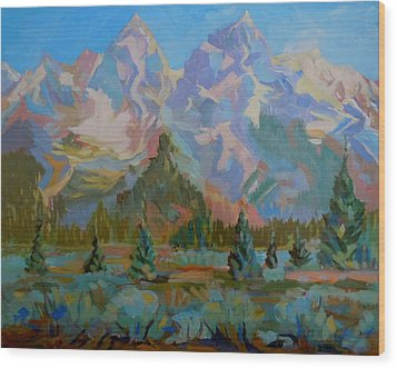 Wood Print featuring the painting Teton Heaven by Francine Frank