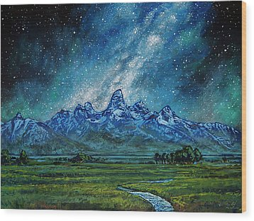 Wood Print featuring the painting Teton Milky Way by Aaron Spong
