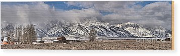 Wood Print featuring the photograph Teton Mormon Homestead Panorama by Adam Jewell