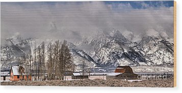 Wood Print featuring the photograph Teton Mormon Row Panorama by Adam Jewell