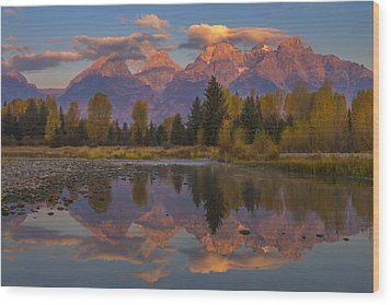 Teton Morning Mirror Wood Print by Joseph Rossbach