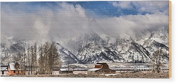 Wood Print featuring the photograph Teton Mountains Over Mormon Row by Adam Jewell