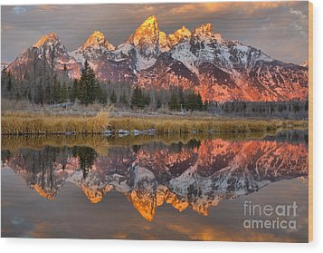 Teton Mountains Sunrise Rainbow Wood Print by Adam Jewell