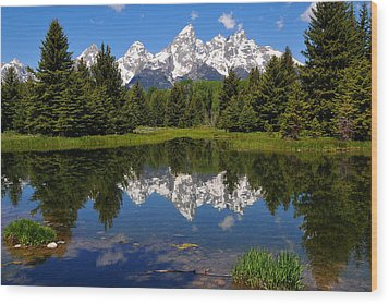 Teton Reflection Wood Print