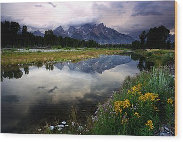 Teton Reflections Wood Print by Eric Foltz