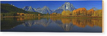 Tetons From Oxbow Bend Wood Print
