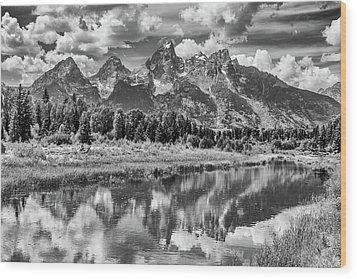 Tetons In Black And White Wood Print by Mary Hone
