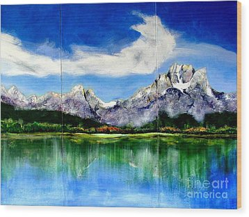 Tetons Jackson Hole Impression Tryptich Wood Print