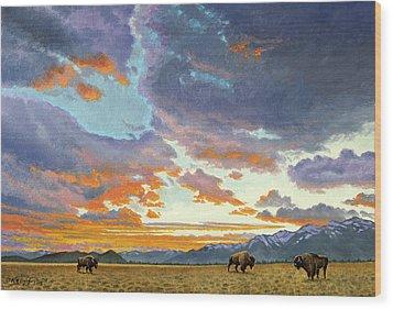 Tetons-looking South At Sunset Wood Print by Paul Krapf