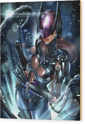 Wood Print featuring the painting Tetsuya Nomura Catwoman by Pete Tapang