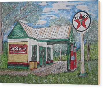 Texaco Gas Station Wood Print