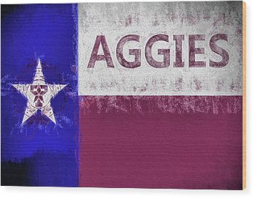 Texas Aggies State Flag Wood Print by JC Findley