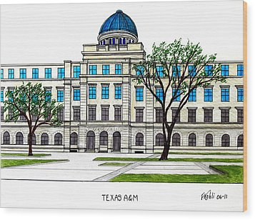 Texas Am University Wood Print by Frederic Kohli