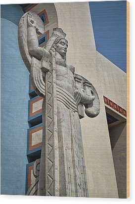 Wood Print featuring the photograph Texas Art Deco Sculpture by David and Carol Kelly
