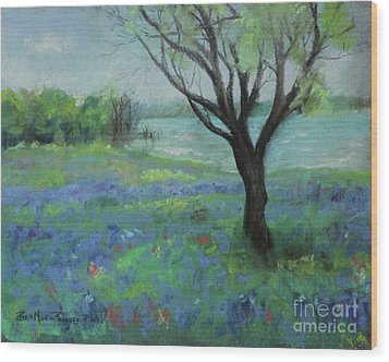 Wood Print featuring the painting Texas Bluebonnet Trail by Robin Maria Pedrero