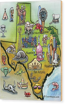 Texas Cartoon Map Wood Print by Kevin Middleton