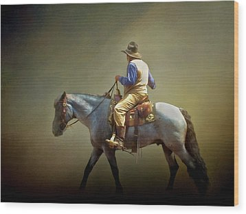 Wood Print featuring the photograph Texas Cowboy And His Horse by David and Carol Kelly