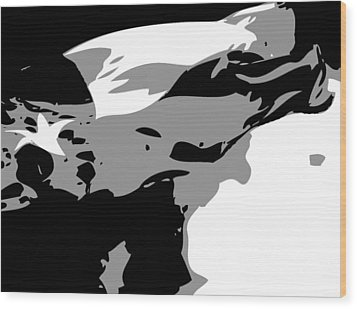 Texas Flag In The Wind Bw3 Wood Print