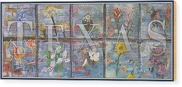 Texas Flowers In Blue Wood Print