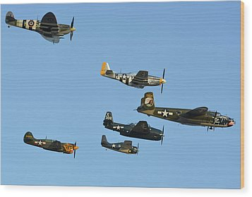 Texas Flying Legends Chino California April 29 2016 Wood Print by Brian Lockett