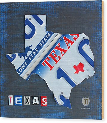 Texas License Plate Map Wood Print by Design Turnpike