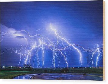 Texas Light Show Wood Print