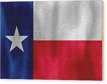 Texas Lonestar Flag In Digital Oil Wood Print
