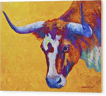 Texas Longhorn Cow Study Wood Print by Marion Rose
