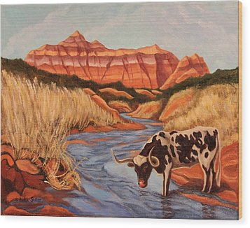 Texas Longhorn In Palo Duro Canyon Wood Print
