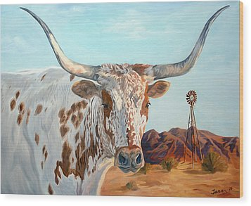 Texas Longhorn Wood Print by Jana Goode