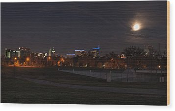 Wood Print featuring the photograph Texas Medical Center Moonset by Joshua House