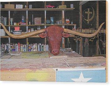 Texas Monster Longhorn Wood Print by Michael Pasko