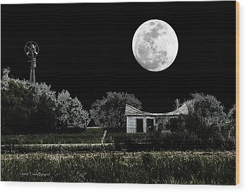 Wood Print featuring the photograph Texas Moon by Travis Burgess