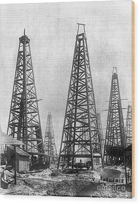 Texas: Oil Derricks, C1901 Wood Print by Granger