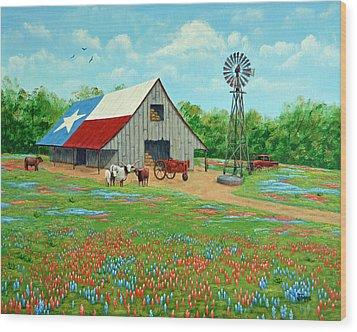 Texas Ranch Barn Wood Print
