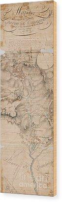 Texas Revolution Santa Anna 1835 Map For The Battle Of San Jacinto  Wood Print