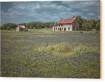 Wood Print featuring the photograph Texas Stone House by Linda Unger