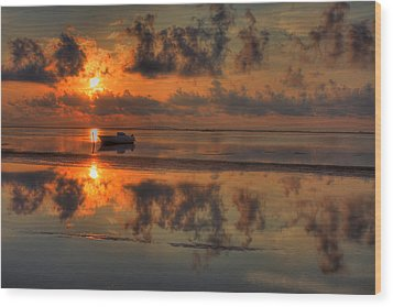 Texas Sunset Gulf Of Mexico Wood Print by Kevin Hill