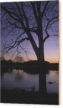Texas Sunset On The Lake Wood Print by Kathy Yates