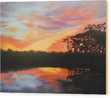 Texas Sunset Silhouette Wood Print by Patti Gordon