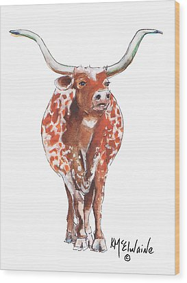 Texas Longhorn Taking The Lead Watercolor Painting By Kmcelwaine Wood Print